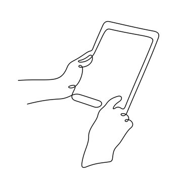Hands using digital tablet continuous line vector illustration