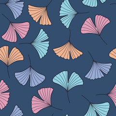 Fototapete - Seamless pattern with ginkgo leaves