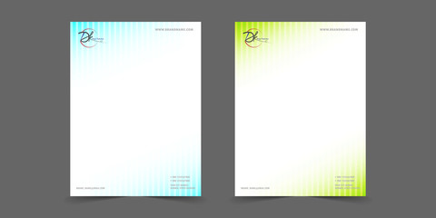 Gradient blue and green line letter head