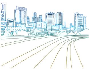 Tel Aviv, Israel. Urban landscape.Colorful ink line sketch on white background. Vector illustration.