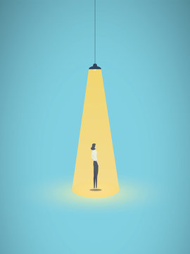 Business hiring and recruitment vector concept with businesswoman standing in bright yellow spotlight. Symbol of new career, headhunting, employment, new opportunity.