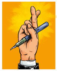 Geschäftsmann mit Stift und gekreuzten Fingern