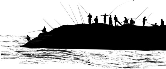 large fishermen group silhouettes isolated on white
