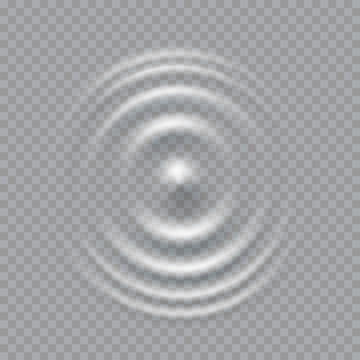 Ripple, splash water waves surface from drop isolated on transparent background. White sound impact effect top view. Vector circle water, liquid shampoo or gel swirl round texture template.