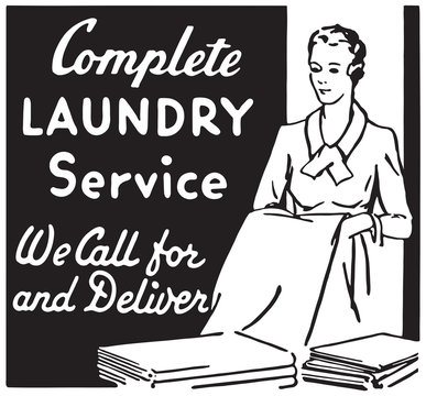 Complete Laundry Service - Retro Ad Art Banner