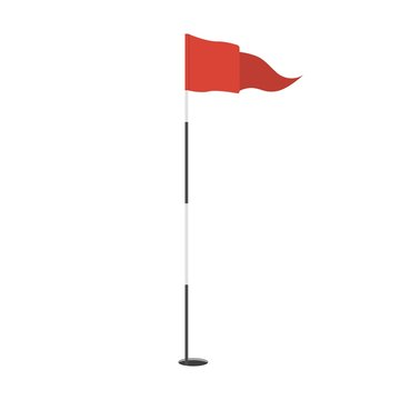 Red triangular golf flag in the hole icon. Golf equipment or accessory. Template design for sport competition.