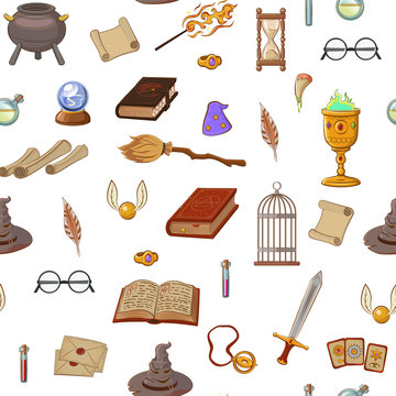 Magic pattern with: wizard, hat, magic book, roll, potion, broom, crystal ball, glasses, snitch.