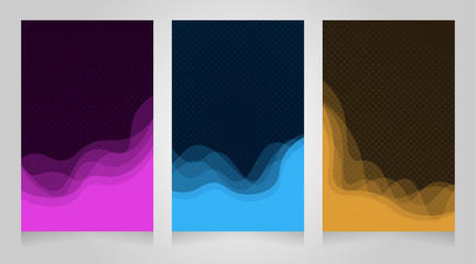 wave element and halftone design set. suitable for poster, business card, web and others. vector illustration