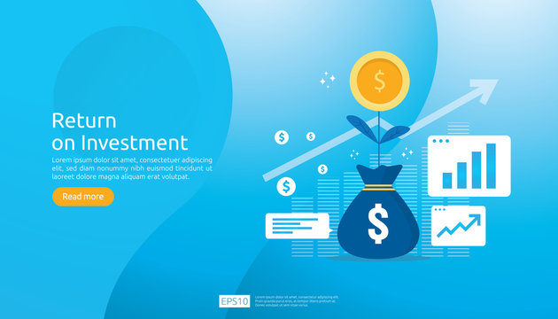 Return on investment ROI concept. business growth arrows success. dollar plant coins, graph and money bag. chart increase profit. Finance stretching rising up. banner flat style vector illustration.