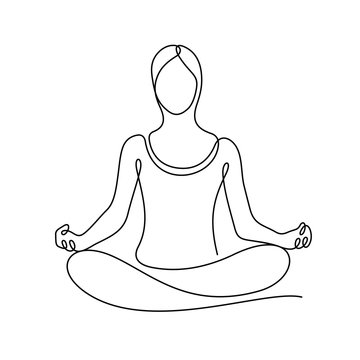 Woman sitting in lotus yoga position continuous line vector illustration