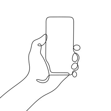 Hand holding smartphone continuous line vector illustration