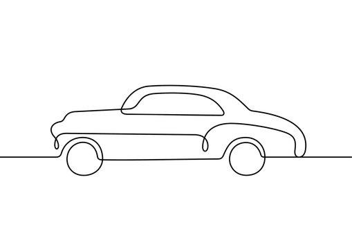 Retro car continuous line vector illustration