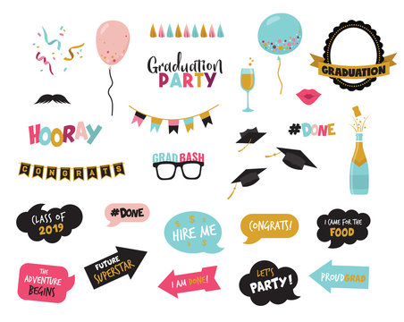 graduation photo booth elemnts and party props-vector