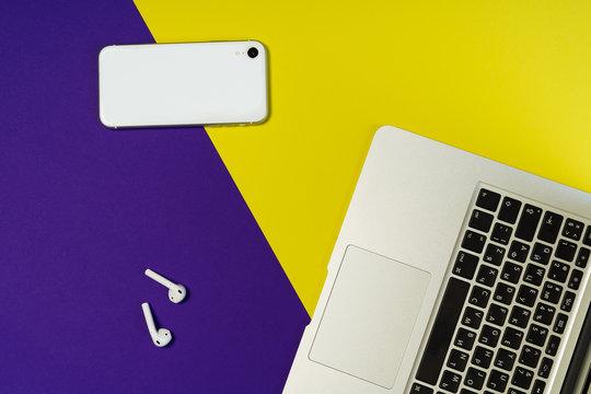 Laptop Phone Earphone Purple Freelance Workspace