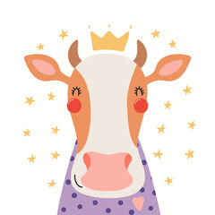 Spoed Fotobehang Illustraties Hand drawn portrait of a cute cow in shirt and crown, with stars. Vector illustration. Isolated objects on white background. Scandinavian style flat design. Concept for children print.