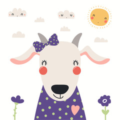 Spoed Fotobehang Illustraties Hand drawn portrait of a cute goat in shirt and ribbon, with sun and clouds. Vector illustration. Isolated objects on white background. Scandinavian style flat design. Concept for children print.