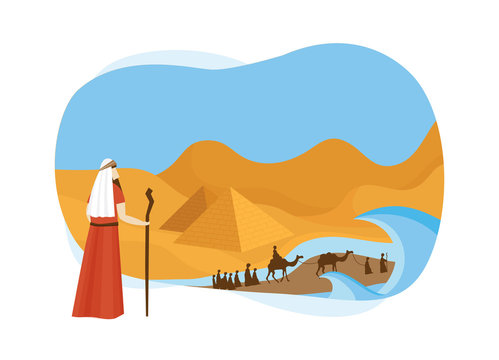 Passover card with Moses Looking at Egypt- Vector