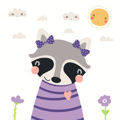 Spoed Fotobehang Illustraties Hand drawn portrait of a cute raccoon in shirt and ribbons, with sun and clouds. Vector illustration. Isolated objects on white background. Scandinavian style flat design. Concept for children print.