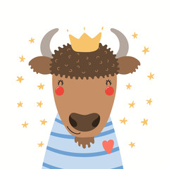 Spoed Fotobehang Illustraties Hand drawn portrait of a cute bison in shirt and crown, with stars. Vector illustration. Isolated objects on white background. Scandinavian style flat design. Concept for children print.