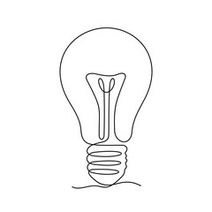 Light bulb continuous line vector illustration