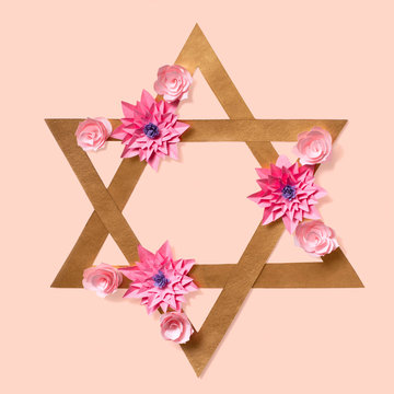 Passover greeting card with Star of David in flowers
