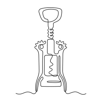Corkscrew continuous line vector illustration