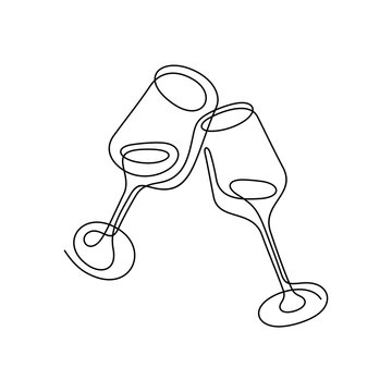 Cheers continuous line vector illustration