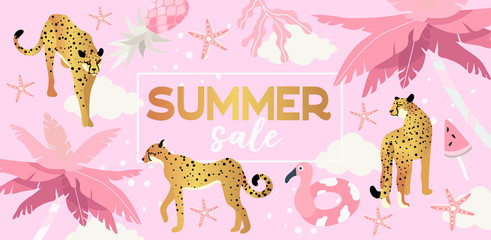 Vector illustration of palm trees, cheetah and summer elements in gold and pink color on a cute pink background. Summer sale banner that can also be used as a landing page or flyer for travel agency.