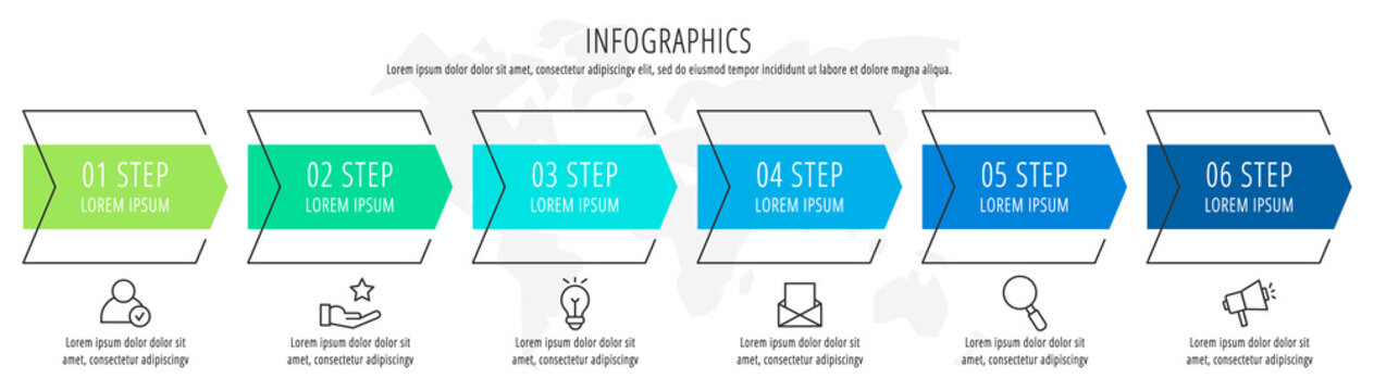 Modern vector flat illustration. Infographic arrows template with six elements, shapes, icons. Timeline designed for business, presentations, web design, interface, education, diagrams with 6 steps
