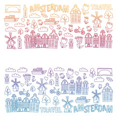 Vector pattern with Holland, Netherlands, Amsterdam icons. Doodle style.