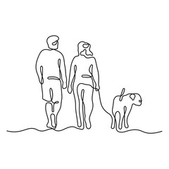 Couple walking with a dog continuous line vector illustration