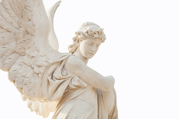 Fotomurales - Antique stone statue of angel isolated on white background