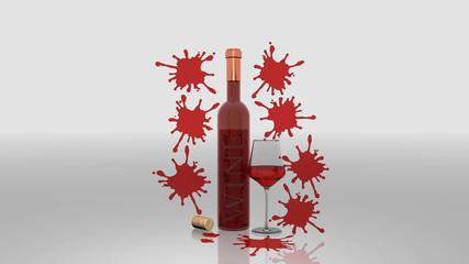 Bottiglia di vino rosè con bicchiere e macchie, su fondo neutro, immagine 3D, illustrazione