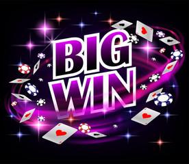 Biw ชนะการออกแบบ Casino Gambling Poker  แบนเนอร์โป๊กเกอร์พร้อมชิปและไพ่  Online Casino Banner พื้นหลังสีดำ  ภาพประกอบ