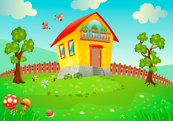 Poster Ranch Landscape, beautiful house, cartoon, sunny day. Illustration, poster, postcard.