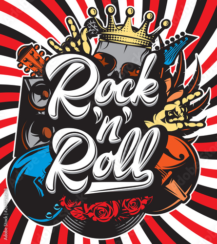 Stylish vector template for printing on the theme of rock