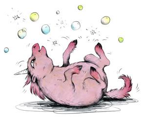 Niedliches rosa Einhorn spielt mit Seifenblasen
