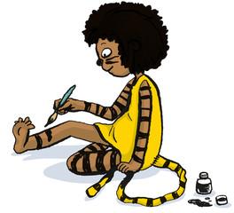 Mädchen im Tiger Kostüm bemalt sich