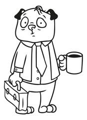 Mops Hund als Geschäftsmann im Anzug mit Aktenkoffer