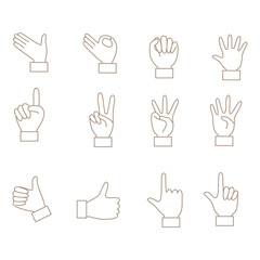 Illustration of various hand pose icon set.