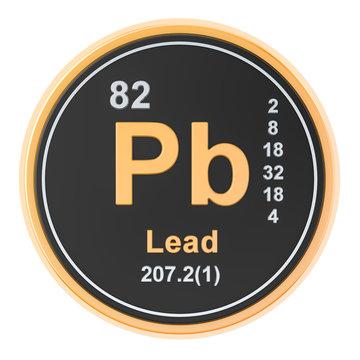 Lead plumbum Pb chemical element. 3D rendering