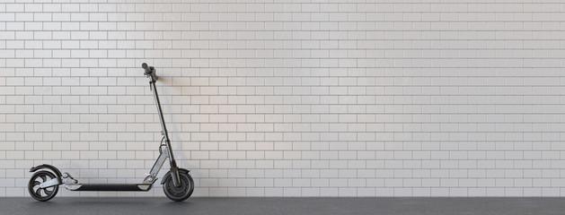 Panorama E-Scooter geparkt für Mobilität in der Stadt