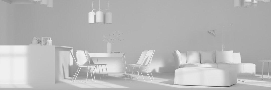 Offene Wohnküche mit Essbereich in weiß