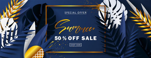 Summer Sale banner.Beautiful Background with white,blue and golden tropical leaves. Vector illustration for website , posters,ads, coupons, promotional material
