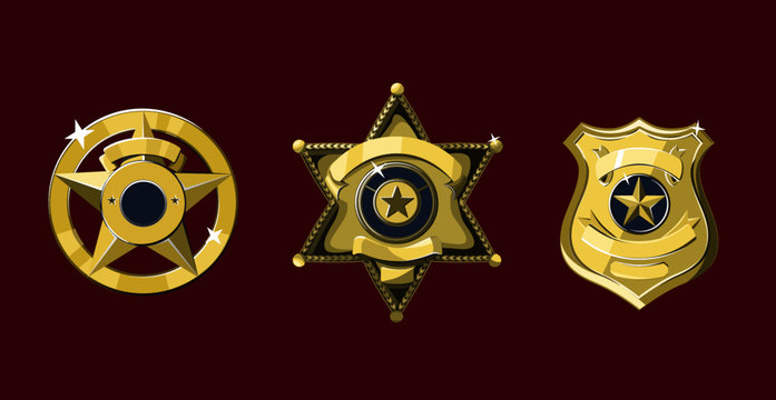 Golden with enamel Sheriff and police badges set