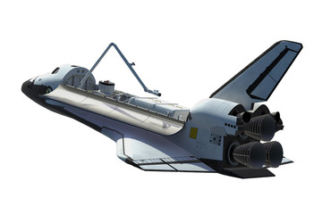 Wall Mural - Space Shuttle Orbiter Isolated Over White Background