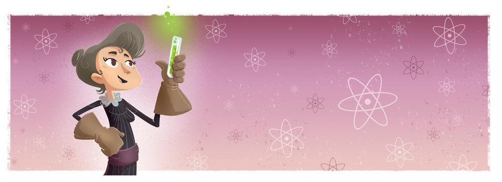cientifica quimica con frasco radioactivo