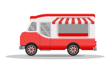 Street food truck concept. Street food vehicles, truck, van. Fast food delivery. Flat design style. Vector illustration.