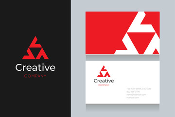 triangle house logo with business card template.