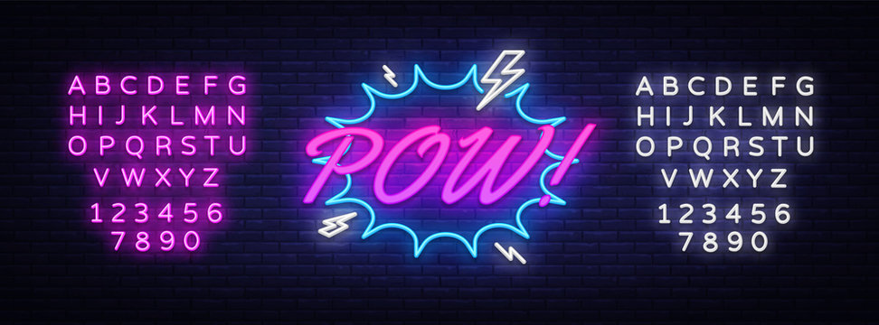 Pow Neon Text Vector. Comic lettering Pow neon sign, design template, modern trend design, night neon signboard, speech bubble, light banner. Vector illustration. Editing text neon sign